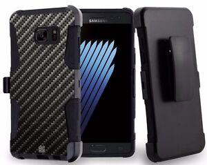 Galaxy NOTE 7 Hybrid Dual Layer Case Kickstand Belt Clip Holster CARBON FIBER