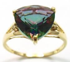 10KT YELLOW GOLD 10MM TRILLION MYSTIC TOPAZ & DIAMOND RING SIZE 7  R1036