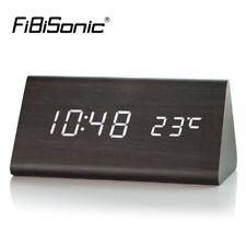 Reloj Digital Reloj Despertador Led De Madera Mesa Escritorio Mesita De Noche con acabado de madera