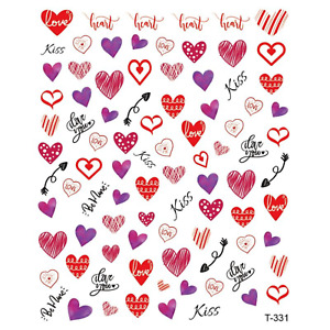 Lovely Hearts Valentines Gift Nail Arts Stickers Pack Decals Manicure Decoration