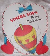 Vtg 1950's You're Tops Be My Top Toy Spinning Children's Valentine's Day Card