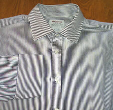 "T M LEWIN 100 16.5"" MENS BLUE WHITE STRIPE CUFFLINK SHIRT MINT CONDITION"