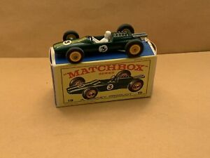 Matchbox Lesney No. 19 Lotus Racing Car  Green With Decals And Box