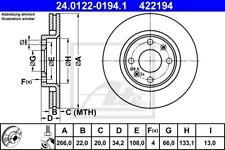 2x ATE Bremsscheibe 24.0122-0194.1 für BERLINGO C2 PEUGEOT C3 307 206 DS3 207 CC