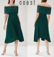 COAST Womens Oriel Lace Bardot Midi Dress in Forest Green