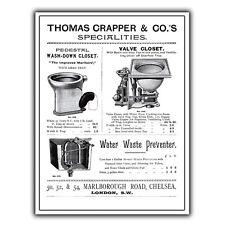 Cartello in metallo targa sul muro Thomas Crapper & Co WC Design POSTER Print Picture