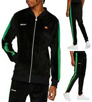 ellesse Mens Velour Full Zip Track Top, or Velour Jog Pants Black Mix Match Suit