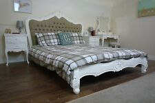 French Parisian Upholstered Double Bed In White - Shabby Chic Style