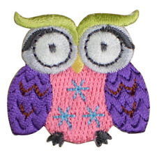 Pink and Purple Owl Applique Patch (Iron on)