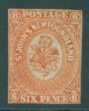 SG 14 Newfoundland 1860. 3d orange-vermilion. Mint without gum. 4 very close...