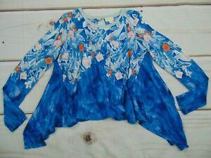 Anthropologie Meadow Rue Women's Size XS Asymmetrical Linen Swing Top Blue