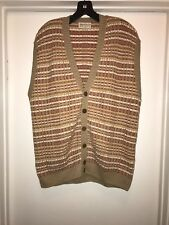 Tricots St. Raphael Striped Cardigan Sweater Vest Men's XL Made In The USA