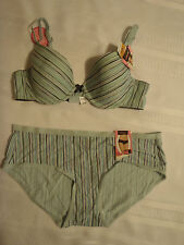 MAIDENFORM 34A Stripe Underwire T-Shirt Bra 7959 Size M/6 Hipster Panty NWT
