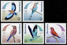 Roller Uccelli Nuovo senza Linguella Set di 5 Francobolli 2017 Namibia