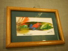 Painting on Feather Frog Costa Rico Signed Matted