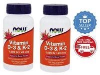 NOW Foods Vitamin D3 & K2, 120 Vegetarian Capsules-2 Pack
