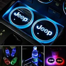 2PCS LED Car Logo Cup Holder Pad 7 Colors Changing Atmosphere Lights for JEEP