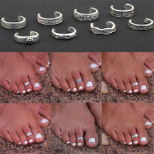 8Pcs Women Elegant 925 Sterling Silver Toe Ring Foot Adjustable Beach Jewelry