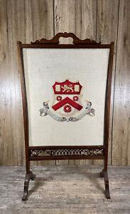 Antique 19th Century Mahogany Trinity College Cambridge Embroidery Fire Screen.
