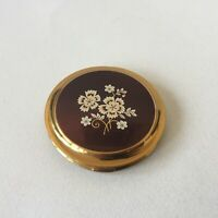 Vintage Brass Powder Compact Flower Design