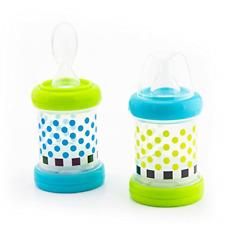 Set of 2 Sassy Baby Food Nurser Cereal Feeder 4oz Bottles Nipple Spoon 4+ Months