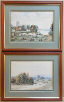 Sutton upon Derwent. PAIR of Watercolours by listed artist Herbert Wood 1926