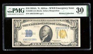 DBR 1934-A $10 North Africa Silver Fr. 2309 PMG 30 Serial A96153198A