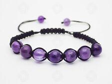 Natural Amethyst Stone Beads Bracelet Gemstone Reiki Healing Stretchable Gift UK