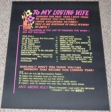 To My Loving Wife Sex Excuse Blacklight Poster 1970's Hippie Humor Head Shop