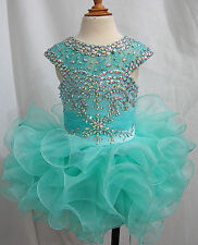 Infant toddle Kids MiNi party Pageant Dress Cupcake Ball Gowns Custom Size