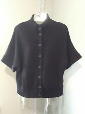 STYLE & Co~ Black Batwing Short Sleeve Button Front Sweater Cardigan Top- S