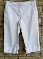 Ana Womens White Capri Cropped Pants Stretch Cuffed Casual Size 8