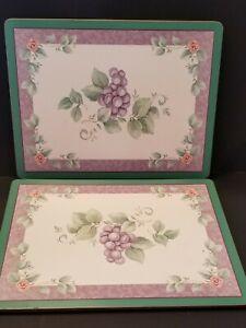 Pimpernel Placemats Grape Floral Cork Back Set Of 4 Green Purple
