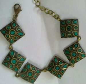 Vintage bracelet brass and turquoise