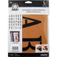 5 inch MONOGRAM STENCIL SET Serif Letters Folkart Alphabet HOME DECOR