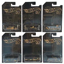 Hot Wheels 2018 50th Anniversary Black and Gold Complete Set of 6 Diecast Cars