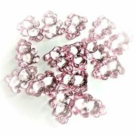 20 x Baby Pink Teddy Bear Charms Clear Charms Baby Shower, Dummy Clips
