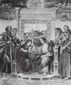 CORONATION of Virgin Saints Pesaro Altarpiece by Bellini - 1888 Etching Print