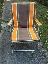 Vintage Cushion Deck Chair Multicolour Stripe Metal Frame Wood Arms Beach Garden