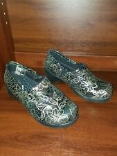 Women's Cherokee Pamela Slip On Nursing Clogs Black Gold Floral Sz 8m