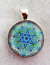 "TURQUOISE FLOWER PATTERN 1""glass pendant necklace handmade silver plated chain"