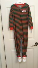 """Always Nice-Santa Sleeper""""Footed, Zippered & Stripped""""~by Carter'S~5 T~Sr $20"""