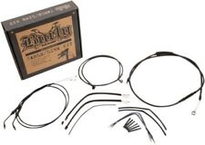 Burly Brand Black 12in ape hanger Brake Line handlebar cable Kit 14-16