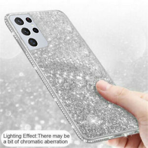 For Samsung Galaxy S21 Ultra S21 Plus Case Glitter Bling Rubber TPU Phone Cover
