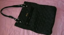 VERA BRADLEY Black Nylon Quilted TALL SLIM TOTE Bag 14 x 12 USED