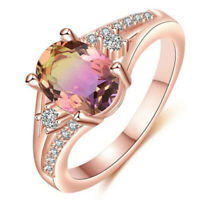 Gifts Ring Jewelry Oval Gorgeous Topaz CZ Cut Wedding Promise Rose Gold Rainbow