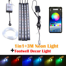 3M RGB LED Car Ambient Light Neon Strip Bluetooth APP + 12LED Footwell Lamp