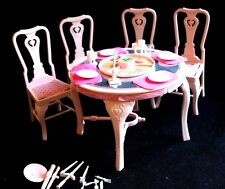 VTG Barbie Sweet Roses Flip Dining Table Chairs Dishes 1987 Mattel Furniture Mat