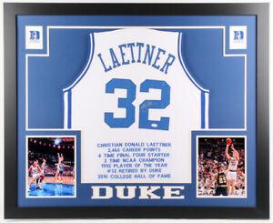 Christian Laettner Signed Duke Blue Devils 35x43 Framed Career Stat Jersey (JSA)