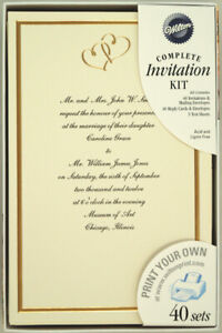 120 Wilton Ivory Wedding Invitation Kits Sweet Hearts Gold - Print Your Own NEW